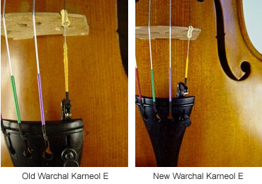Warchal Karneol E strings, before and after amendment