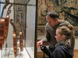 Martin Swan and Maggie Ashmole at the Ashmolean Museum violin collection