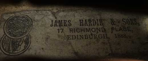 James Hardie Violin, Edinburgh 1888