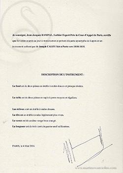 Joseph Calot Violin certificate