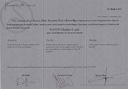 Louis Bazin Violin Bow certificate